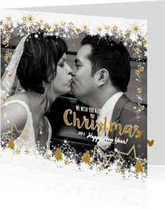 Kerstkaarten - Sfeervolle kerst kaart wit goud