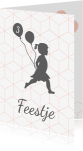Kinderfeestjes - Silhouet uitnodiging meisje met ballonnen