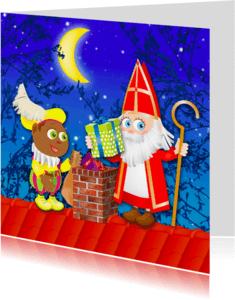 Sinterklaaskaarten - Sint en Piet bij de schoorsteen