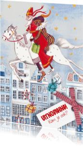 Sinterklaaskaarten - Sint en Piet Huisjes Paard Illustratie