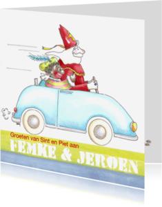 Sinterklaaskaarten - Sint en Piet in de auto