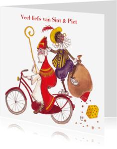 Sinterklaaskaarten - Sint en Piet op de fiets Cartita Design