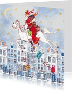 Sinterklaaskaarten - Sinterklaas Zwarte Piet Huis Illustratie