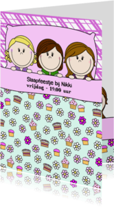 Kinderfeestjes - Slaapfeestje meisjes in groot bed