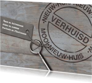 Verhuiskaarten - Sloophout sleutel en stempel