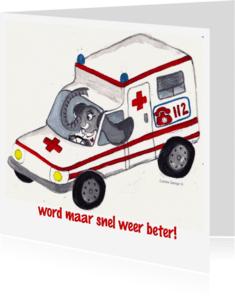 Beterschapskaarten - Snel weer beter ziekenwagen olifant