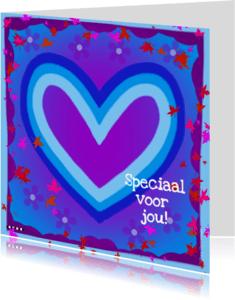 Vriendschap kaarten - Speciaal voor jou hart blauw paars