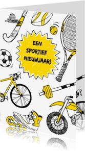 Nieuwjaarskaarten - Sportieve nieuwjaarskaart