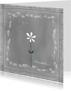 Condoleancekaarten - Sterkte grijs met wit bloemetje