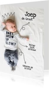 Geboortekaartjes - Stoer foto kaartje met kroon