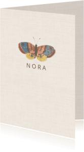 Geboortekaartjes - Subtiel geboortekaartje met vintage afbeelding  vlinder