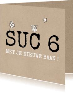 Succes kaarten - Suc 6 kaart met uil en ster