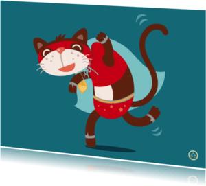 Kinderkaarten - Superheld -kat-