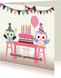 Verjaardagskaarten - Taart met 1 t/m 5 roze kaarsen