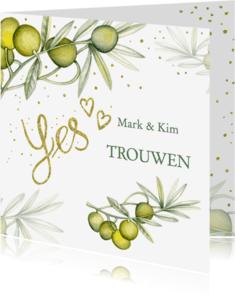 Trouwkaarten - Trouwen olijftak aquarel