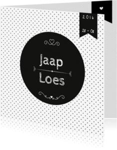 Trouwkaarten - Trouwkaart Black&White stip