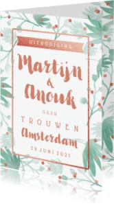 Trouwkaarten - Trouwkaart botanical confetti