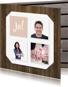 Trouwkaarten - Trouwkaart collage hout RB