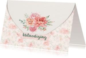 Jubileumkaarten - Trouwkaart enveloppe met rozen