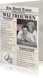 Trouwkaarten - Trouwkaart Krant Eigen Foto Cartita
