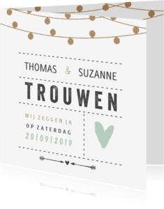 Trouwkaarten - Trouwkaart lampjes en groen hart