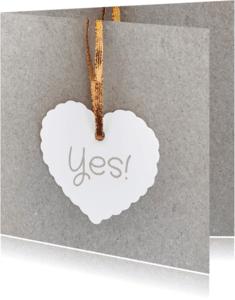 Trouwkaarten - Trouwkaart papier hart koper