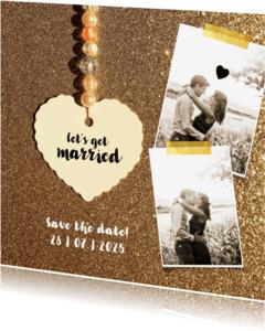 Trouwkaarten - Trouwkaart save the date gold