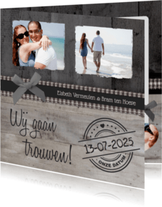 Trouwkaarten - Trouwkaart Stijlvol Hout Foto's