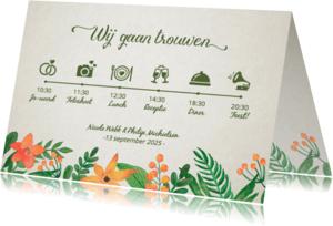 Trouwkaarten - Trouwkaart tijdlijn retro bloem