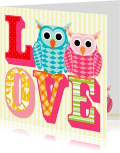 Trouwkaarten - Trouwkaart Uiltjes op Love