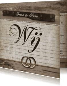 Trouwkaarten - Trouwkaart vintage ringen en foto