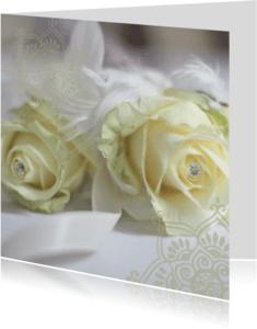Trouwkaarten - Trouwkaart witte roos kristal