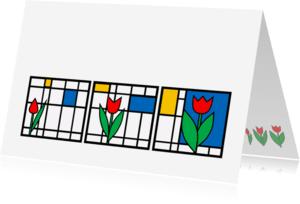 Bloemenkaarten - Tulp en groei in rij - AW