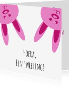 Geboortekaartjes - Twee roze konijnen - DH