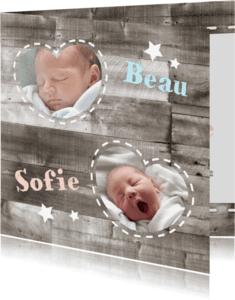 Geboortekaartjes - Tweeling geboortekaartje Hout 1L
