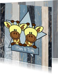 Geboortekaartjes - tweeling jongens stoer giraf