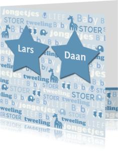 Geboortekaartjes - tweeling sterren tekst