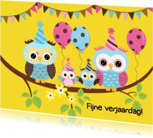 Verjaardagskaarten - Uilenfamilie - geel