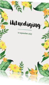 Uitnodigingen - Uitnodiging 21 diner met bladeren en gele bloemen - BK