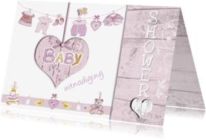 Uitnodigingen - uitnodiging babyshower met hart