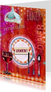 Uitnodigingen - Uitnodiging Diner Mixed Media
