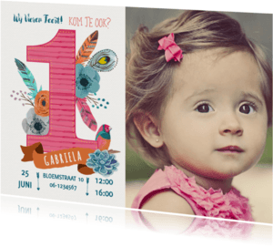 Kinderfeestjes - Uitnodiging EEN jaar Boho