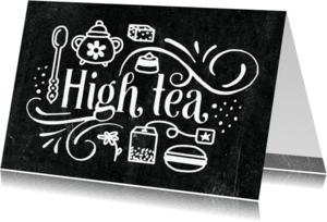 Uitnodigingen - Uitnodiging High Tea Krijtbord
