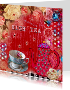Uitnodigingen - uitnodiging High Tea mixed media