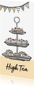 Uitnodigingen - Uitnodiging High Tea taartjes