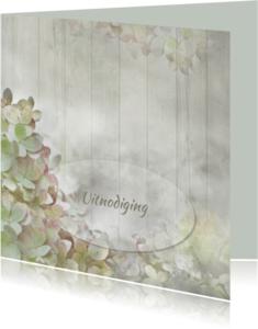Jubileumkaarten - Uitnodiging hortensia's op hout