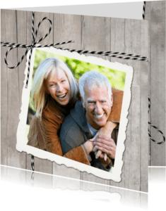 Uitnodigingen - Uitnodiging Hout Twine Polaroid Foto