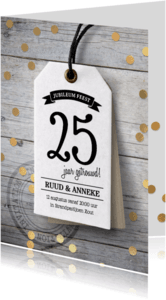 Uitnodigingen - Uitnodiging Huwelijks jubileum label