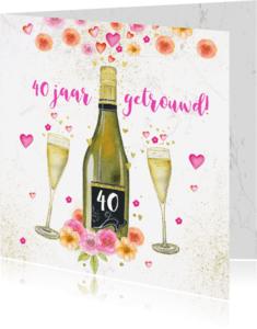 Uitnodigingen - Uitnodiging huwelijksjubileum champagne aquarelbloemen