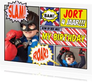 Kinderfeestjes - uitnodiging  jongen stripverhaal